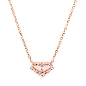 Geometric Diamond Necklace in 18k Rose Gold