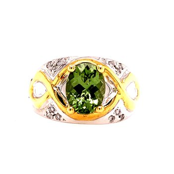 Green Zircon and Diamond Ring in Two Tone Gold