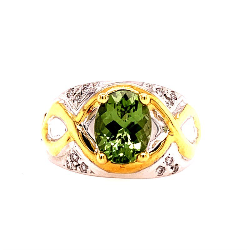 Perry's Estate Collection Green Zircon and Diamond Ring in Two Tone Gold