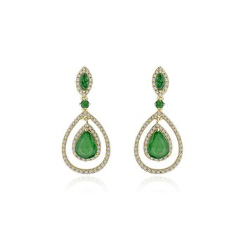 Emerald and Diamond Drop Earrings in Yellow Gold
