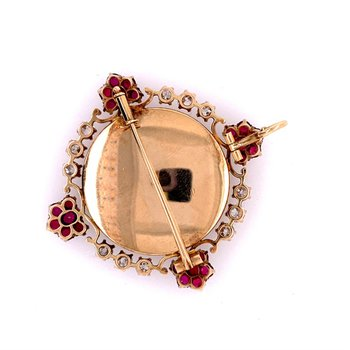 Antique Victorian Queen Elizabeth Ruby and Diamond Brooch in Yellow Gold