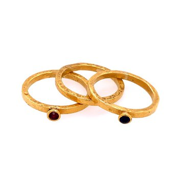 Ruby and Sapphire Stacking Rings in 22k Yellow Gold