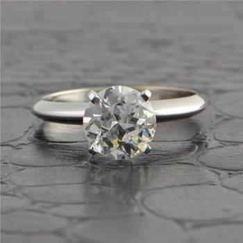 GIA 1.11 Carat E-VS2 Old European Cut Diamond Engagement Ring