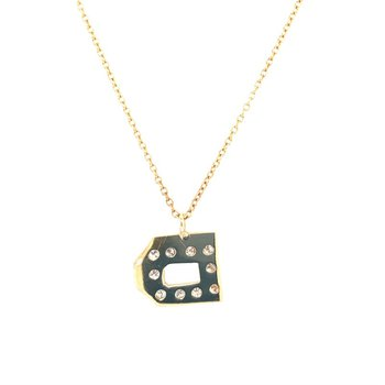 "Diamond Letter ""D"" Pendant in Yellow Gold"