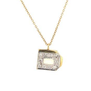 "Diamond Letter ""D"" Pendant in Yellow Gold"