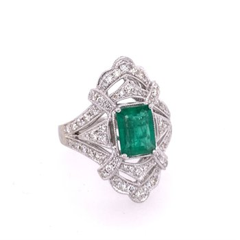 Vintage Inspired Emerald and Diamond Ring in White Gold