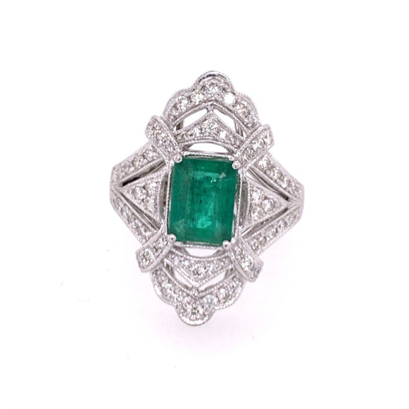 Effy Vintage Inspired Emerald and Diamond Ring in White Gold