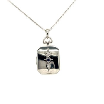 Sapphire and Diamond Locket Pendant Necklace in 14k White Gold