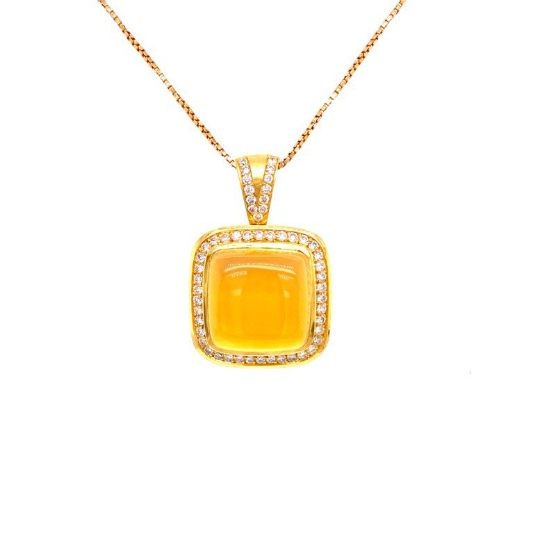 Perry's Estate Collection Moonstone and Diamond Necklace in Yellow Gold
