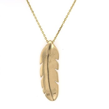 Diamond Feather Pendant in Yellow Gold