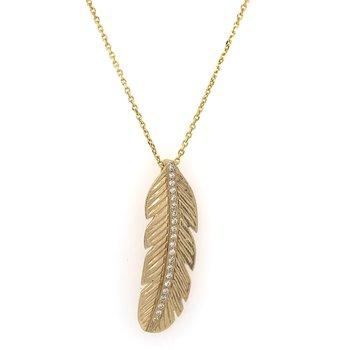 Diamond Feather Pendant in Yellow Gold