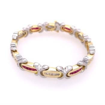 Sapphire and Diamond Bracelet in Two Tone  Gold
