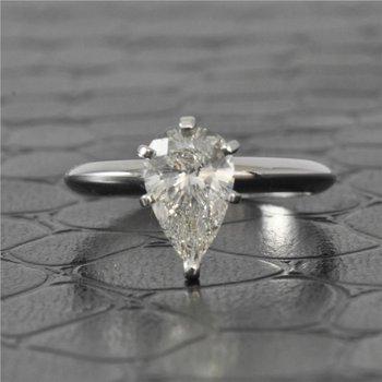 GIA 1.40 Carat I-SI2 Pear Cut Diamond Engagement Ring