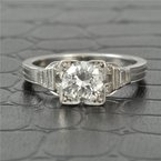 Perry's Estate Collection Vintage 1.0 Carat Round Diamond Engagement Ring in Platinum Boxhead Mounting