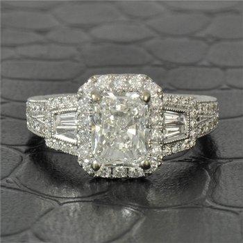 GIA 1.50 Carat Radiant Cut Diamond Engagement Ring in White Gold