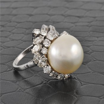 15 MM South Sea Pearl and Diamond Ring in White Gold