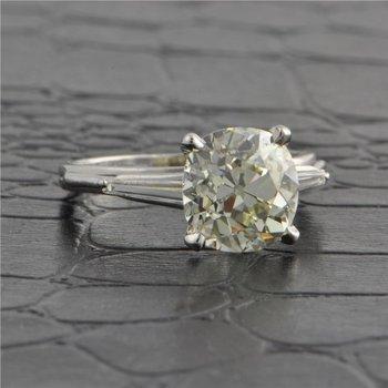 GIA 3.37 Carat Old Mine Cut Diamond Engagement Ring in Platinum