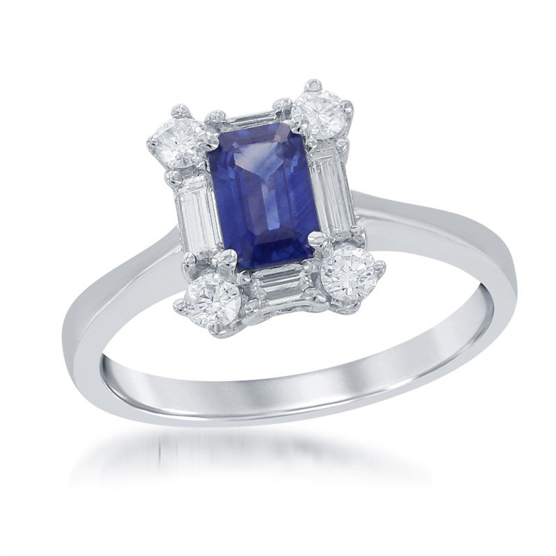 Jewels By Jacob Emerald Cut Sapphire and Diamond Ring