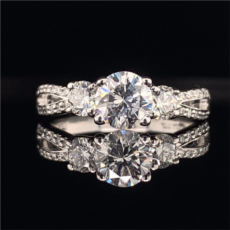 Perry's Estate Collection GIA 0.91 Carat Round Brilliant Cut Engagement Ring in White Gold
