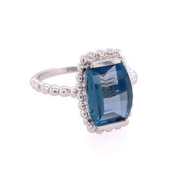 London Blue Topaz Ring in White Gold
