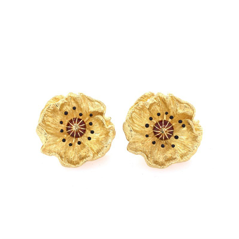 Perry's Estate Collection Flower Ear Clips in 18k Gold by Asprey