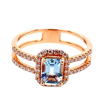 Aquamarine and Diamond Ring in Rose Gold