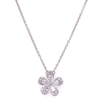 Diamond Flower Pendant in White Gold