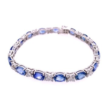 Sapphire and Diamond Bracelet in 18k White Gold