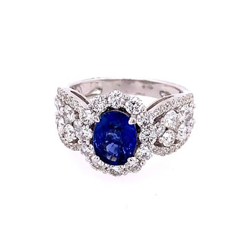 Sapphire and Diamond Ring in 18k White Gold