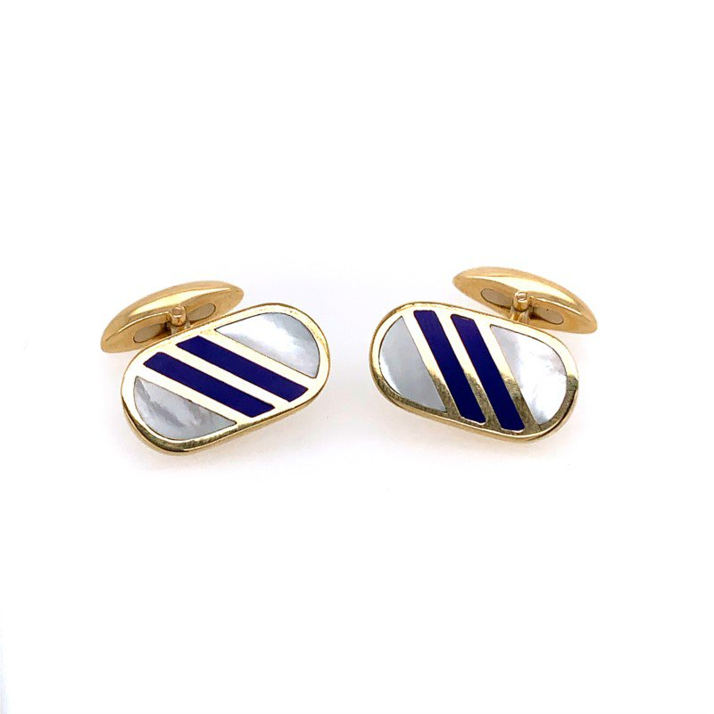Perry's Estate Collection Mother of Pearl and Lapis Cuff Links in 18k Gold