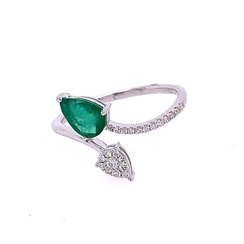 Emerald and Diamond Bypass Style Ring in White Gold