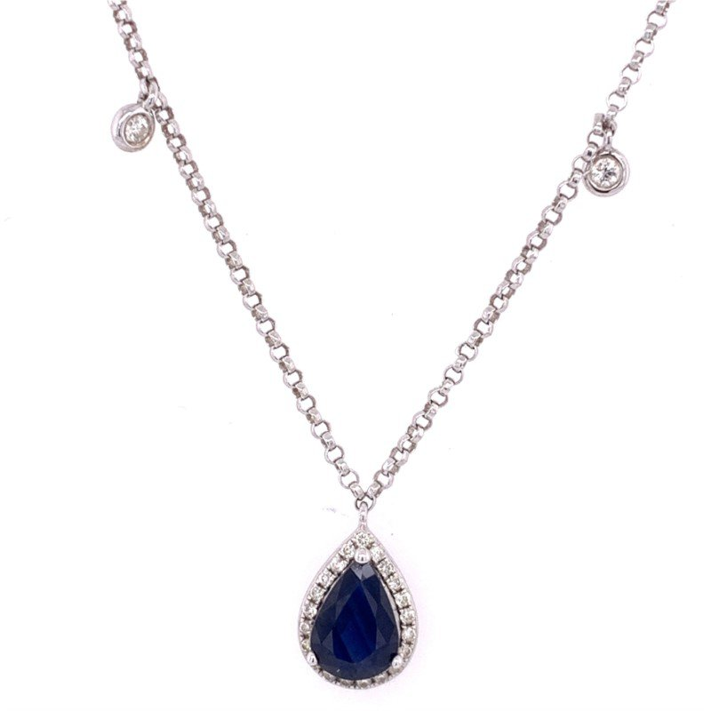 Royal Jewelry Sapphire and Diamond Pendant in White Gold