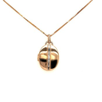 Diamond Locket Pendant Necklace in Rose Gold