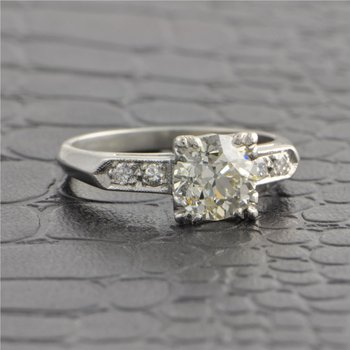 Vintage 1950s 1.34 Carat Old European Cut Diamond Engagement Ring