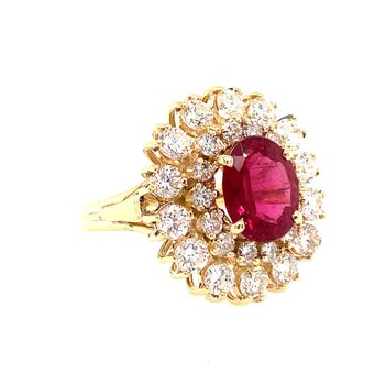 Pink Tourmaline and Diamond Cocktail Ring in Yellow Gold