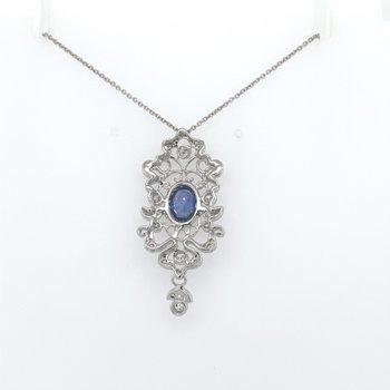 Sapphire & Diamond Filigree Necklace Pendant