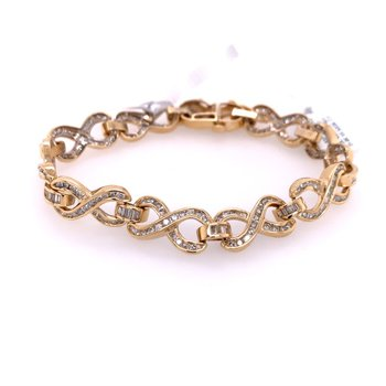 Diamond Infinity Motif Bracelet in Yellow Gold
