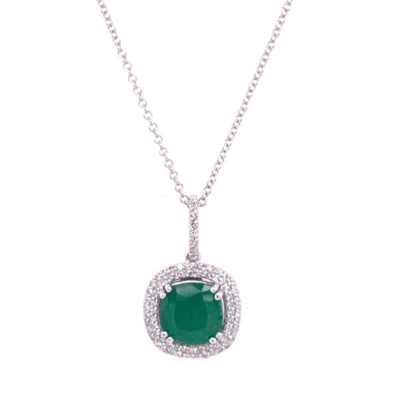 Effy Emerald and Diamond Pendant in White Gold