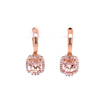 Morganite and Diamond Drop Earrings in Rose Gold