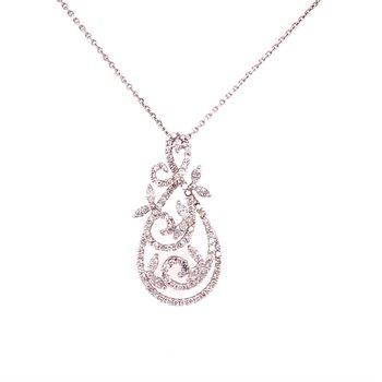 Elegant Curving Diamond Pendant in 18k White Gold