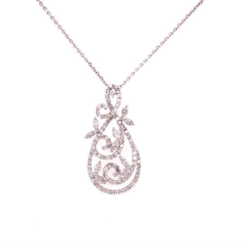 Jewels By Jacob Elegant Curving Diamond Pendant in 18k White Gold