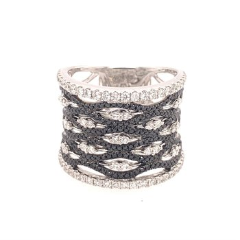 Black and White Wide Diamond Band in White Gold