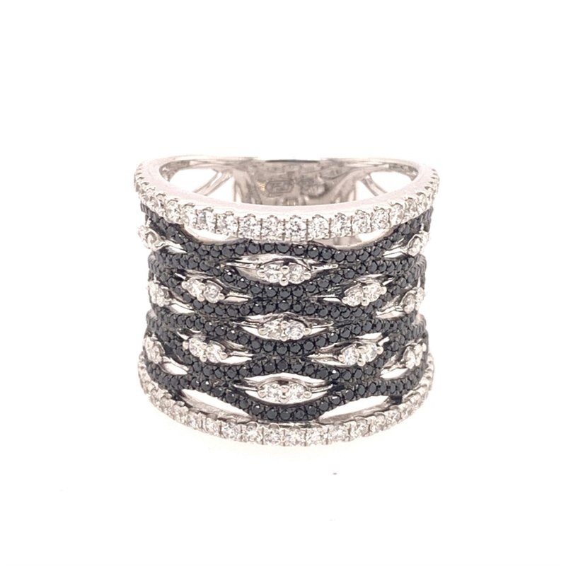 Jewels By Jacob Black and White Wide Diamond Band in White Gold