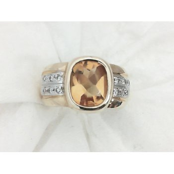 Bold Citrine and Diamond Ring in Yellow Gold
