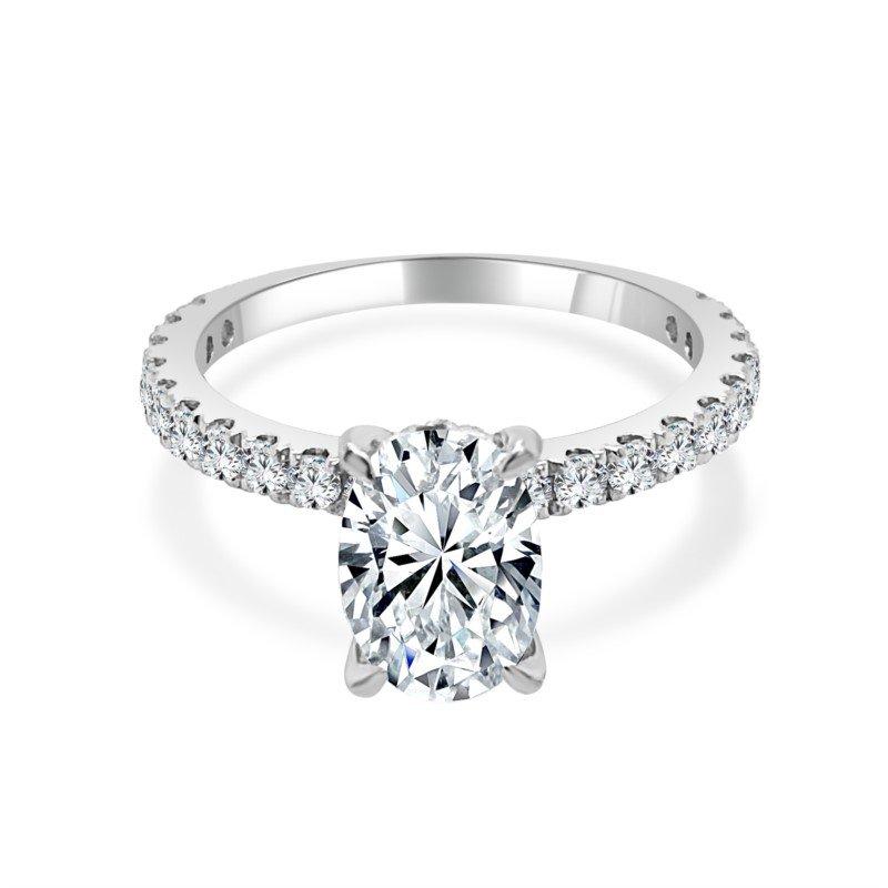 Imagine Bridal Diamond Semi Mount for Oval Cut Diamond  in White Gold