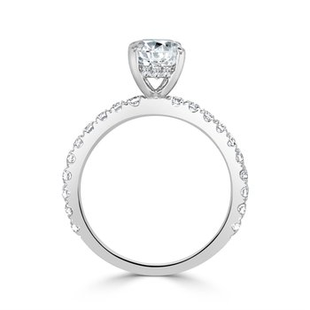Diamond Semi Mount for Oval Cut Diamond  in White Gold