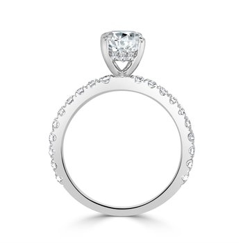 Diamond Semi Mount for Oval Cut Diamond  in White Gold