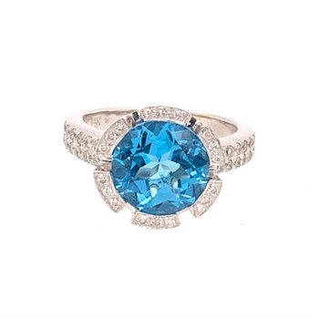 Blue Topaz and Diamond Ring in White Gold