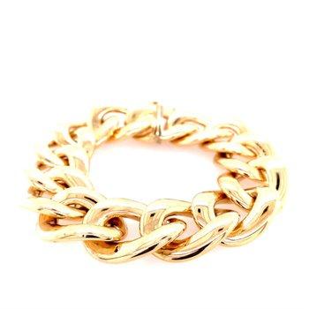 Wide Curb Link Bracelet in 14k Gold