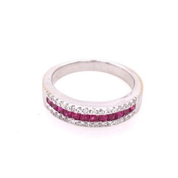 Ruby and Diamond Band in 18k White Gold